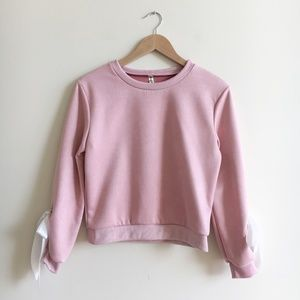 Pink White Bow Sleeve Sweater